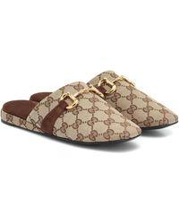 Gucci Slippers Pericle Original aus Canvas - Natur
