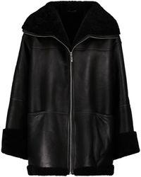 Totême Shearling-lined Leather Jacket - Black