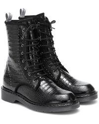 Max Mara Bon Croc-effect Leather Combat Boots - Black