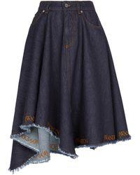 JW Anderson Asymmetric Logo Denim Midi Skirt - Blue
