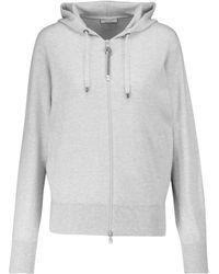 Brunello Cucinelli Sweat-shirt à capuche en cachemire à ornements - Gris