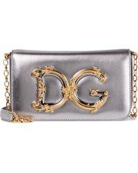 Dolce & Gabbana Schultertasche DG Girls aus Leder - Mettallic