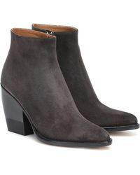 Chloé Ankle Boots Rylee aus Veloursleder - Schwarz