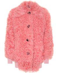 Miu Miu Lamb Fur Jacket - Pink