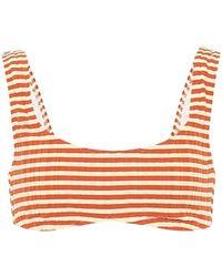 Solid & Striped Top bikini Elle a righe - Arancione