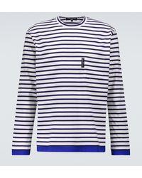 Comme des Garçons T-shirt rayé à manches longues en coton - Bleu