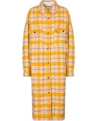 Étoile Isabel Marant Fontia Checked Wool-blend Coat - Yellow