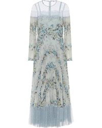 RED Valentino Tulle-trimmed Floral Midi Dress - Blue