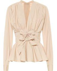 Alaïa - Cotton-poplin Peplum Shirt - Lyst