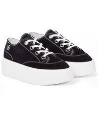 MM6 by Maison Martin Margiela Suede Platform Sneakers - Black