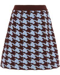 Marni Houndstooth Wool-blend Miniskirt - Blue