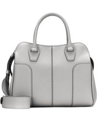 Tod's Grand Sac Shopping Zippé Sella Clouté en Cuir de Veau Blanc sV08pTczL