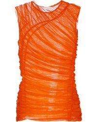 Dries Van Noten Top de malla drapeado - Naranja