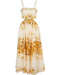 Zimmermann Robe midi Aliane en lin à fleurs - Métallisé