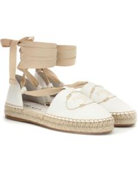 Prada Embroidered Canvas Espadrilles - White