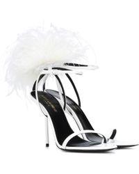 7cb54417044f Saint Laurent - Inez Feather-trimmed Leather Sandals - Lyst