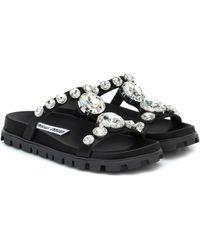 Miu Miu Sandalias adornadas con cristales - Negro