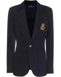 Polo Ralph Lauren Embroidered Cotton-blend Knit Blazer - Multicolour