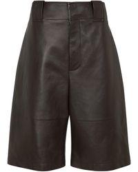 Bottega Veneta Leather Culottes - Black