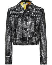 Dolce & Gabbana Houndstooth Wool-blend Jacket - Black