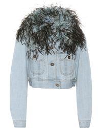 Prada Feather-trimmed Denim Jacket - Blue