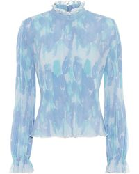 Ganni Floral Print Pleated Blouse - Blue