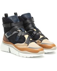 Chloé 'Sonnie' High-Top-Sneakers - Blau