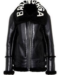 Balenciaga Jacket With Fur Collar - Black