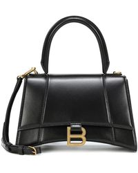 Balenciaga Borsa Hourglass Small in pelle - Nero
