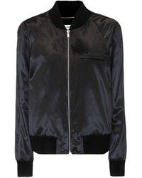 Saint Laurent Velvet Bomber Jacket - Black