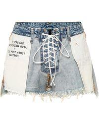 Unravel Project Mid-Rise Jeansshorts - Blau