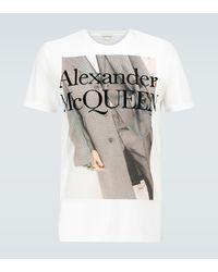 Alexander McQueen Camiseta de algodón estampada - Blanco