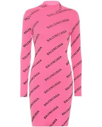 Balenciaga Allover Logo Ribbed-knit Minidress - Pink