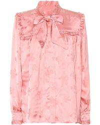 ALEXACHUNG Jacquard Satin Blouse - Pink