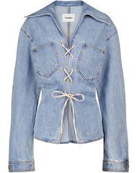 Nanushka Ila Lace-up Denim Shirt - Blue