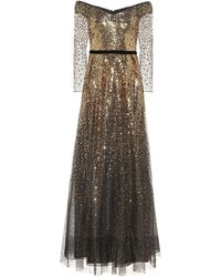 Marchesa notte Off-the-shoulder Sequin Gown - Metallic