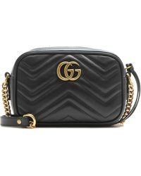 Gucci GG Marmont Mini Quilted Leather Cross-Body Bag - Black