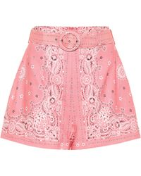 Zimmermann - Shorts Heathers de lino paisley - Lyst