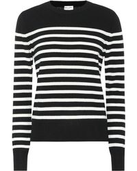 Saint Laurent - Striped Cashmere Sweater - Lyst 7fa581786