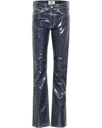 Eytys Cypress Wet Mid-rise Straight Trousers - Blue