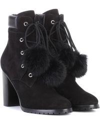 Jimmy Choo Elba 95 Fur-lined Suede Boots - Black