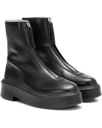 The Row Zipped 1 Leather Ankle Boots - Black