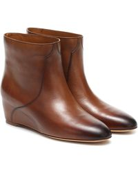 Gabriela Hearst Gorkin Leather Wedge Ankle Boots - Brown