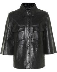 Ganni Camisa de piel - Negro