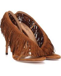 Aquazzura Wild Fringe Sandals - Brown