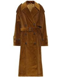 Acne Studios Trench oversize in velluto a costine - Marrone