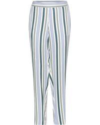 Tory Burch Villa Striped Trousers - Blue