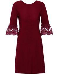 Oscar de la Renta - Wool Lace-trimmed Dress - Lyst