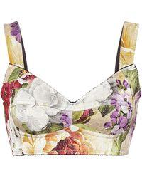 Dolce & Gabbana Top bustier in broccato floreale - Multicolore