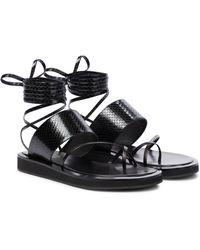 Paris Texas Brooklyn Leather Thong Sandals - Black
